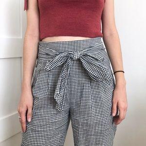 Anthro tie waist gingham pants